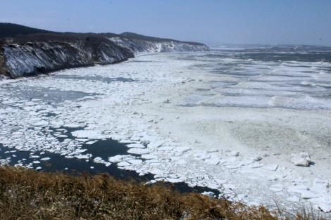 能取岬に流氷